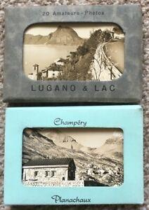 2 Vintage Sets of Small Photos of Switzerland Lugano & Lac Champery Planachaux