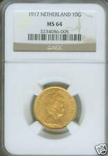 1917 NETHERLAND 10 GULDEN GUILDER GOLD NGC MS64 MS-64 !