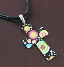 Multi Print by Laser Cross Designer Necklace Pendant Leather Band Silver Tone
