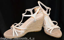 Two Lips White Leather braided rope Wedge Sandals heels strappy Shoes 10 M NEW