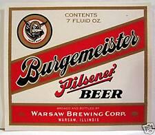 Burgemeister Pilsner Beer Bottle Label Warsaw, Illinois