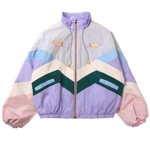 Women Cartoon Embroidery Jacket Windbreaker Pastel Bomber Oversize Japan Ulzzang