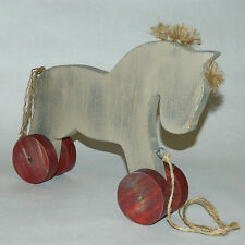 Wood Pull-Along Horse Decoration - Wooden Horse - Handmade