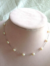 """HONORA 14K WHITE GOLD CULTURED PEARL 6.0 mm STATION 16"""" NECKLACE (M317-4-17)"""
