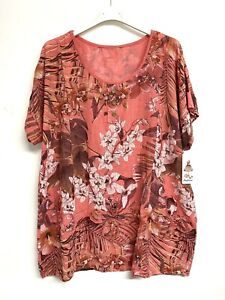 New ladies Lagenlook Coral Floral Flower cotton tunic top Size Uk 16 18 20 22