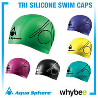 AQUA SPHERE TRI SILICONE SWIMMING CAPS - TRIATHLON SWIM CAPS Bright Colours