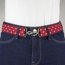 Red and White Polka Dots Elastic Snake Belt Flat Buckle Handmade in UK