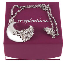 Inspirations Crystal MOON pendant & Catena. Brand New & Boxed.
