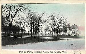 H62/ Walworth Wisconsin Postcard c1910 Public Park Looking West Homes  129