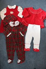 3 Baby Girl's Red Holiday Outfits - Size 6/9 Months