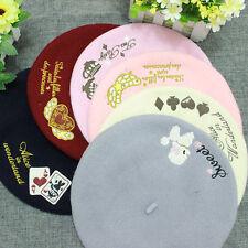 Vintage Women Lolita Sailor Gothic Wool Embroider Alice Painter Artist Beret Hat