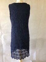 Hallhuber, Size Large, Navy Blue Lace Sheath Short Dress, Sleeveless,Pre-loved