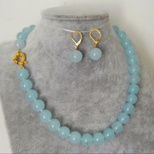 Handmade 10mm Natural Light Blue Jade Round Beads Necklace Earring Set 18'' AAA