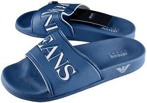 NWT ARMANI JEANS FLAT SLIP SANDALS blue slipper slides logo Italy eu 43 us 9.5