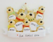 Personalized Reindeer Family of 7 Christmas Ornament