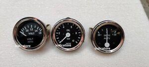 Smiths 52mm Kit Oil Pressure Gauge Volt Gauge Ampere Gauge meter Black Chrome