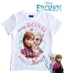 Disney Frozen Elsa & Anna Strong Bond Strong Heart Girls T-Shirt Top White