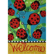 """Welcome"" Lots of Ladybugs Small Flip It Garden Flag 12.5"" x 18"""