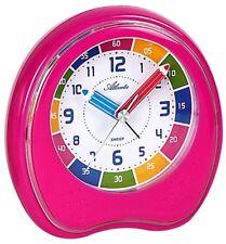 Kinderwecker ohne Ticken Lernuhr Uhrzeit lernen zur Einschulung Pink -1953-17