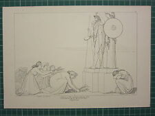 1880 PRINT JOHN FLAXMAN AESCHYLUS MYTHOLOGY SUPPLICANTS PRAYING OFFERING STATUE