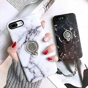 Ring Phone Case iPhone XR SE 5 6 7 8 X - Marble Magnet Ring with kickstand Cover