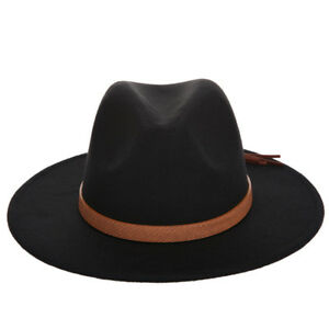 Unisex Wool Panama Hat Stiff Brim Jazz Church Fedora Cap Brown Leather Band ABG