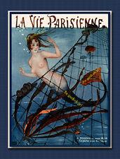 LA PECHE AUX SIRENE French Mermaid La Vie Parisienne 8x10 Leonnec Art print