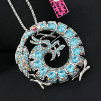 Women's Crystal Dragon Pendant Chain Betsey Johnson Animal Necklace/Brooch Pin