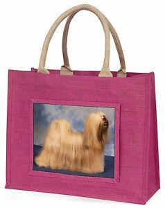 Lhasa Apso Dog Large Pink Shopping Bag Christmas Present Idea, AD-LA1BLP