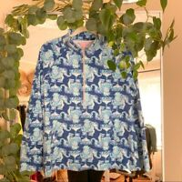 LILLY PULITZER Half Skipper Popover Elephant Women's size large casual everyday