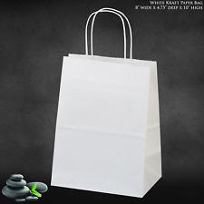 "8""x4.75""x10"" - 100 PcsWhite Kraft Paper Bags, Shopping, Mechandise, Party, Gift"