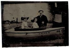 USA AMERICAN FLAG Girls with Man Boat ALICE TINTYPE (4200)