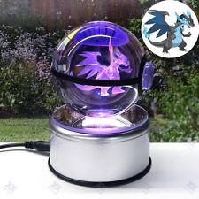 Pokeball Pokemon Mega Charizard 3D Crystal  LED Night Light Table Lamp Luxury