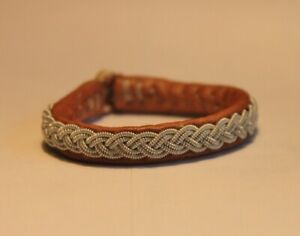 Bracelet sami Sweden handmade silver leather