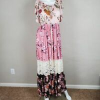 Umgee Floral Spring Maxi Off the shoulder Spring Summer Women Boho Dress Sz L