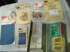 7p SEWING LOT DRITZ REPAIR POCKETS FARMERS NEEDLE BOOK SNAPS SHARPS SINGER PATCH