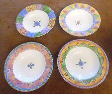 4 Sue Zipkin Sango Sweet Shoppe Rimmed Soup Bowls - Cranberry, Peach, Pecan, Key