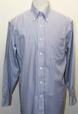 Brooks Brothers 346 White & Blue Stripe Polo dress Shirt 15 1/2-2/3 100% Cotton