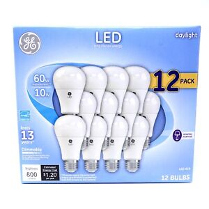 GE LED Daylight Dimmable A19 Light Bulbs (10 Watt, 60w Replacement), 12-Pack