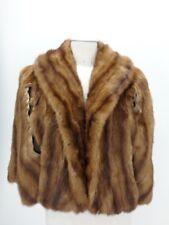 CAPE Mink Real Fur Coat Jacket Craft Cutter Brown Women's 38459