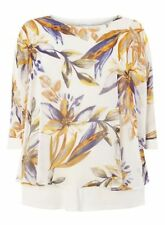 Evans Ivory Leaf Print Overlay Top Size UK 30 LF082 KK 11