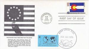 1670  13c  STATE FLAG - U/O NASA LOCAL POST LABEL & CANCEL - COLORADO