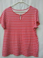 Kim Rogers Women's Size L 100% Cotton Geometric Print Orange  Short Sleeve Top