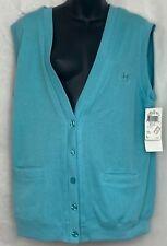 Jantzen Golfwear Vest Button Up V Neck Aqua Blue Pockets Crest Cotton Blend M