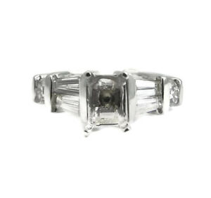Baguette Round Diamond Engagement Ring Setting Mounting 14K White Gold .59 CTW