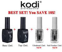 BEST SET! 4in1 Nail Fresher+ Ultrabond + BASE + TOP Kodi Professional Gel LED/UV