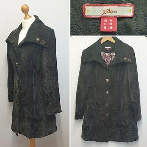 Joe Browns Womens Black Floral Jacquard Brocade Button up Coat UK Size 12