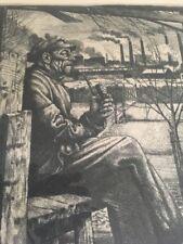 ALFRED KITZIG 1902 AHLEN - KREUTH / Radierung, handsigniert im Rahmen/Feierabend