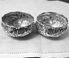 Pair Whiting repousse master open salts or nut dishes 3552A sterling NO mono