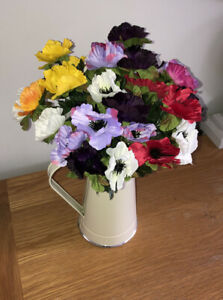 Artificial Silk Anemones X 5 Bunches Assorted Colours